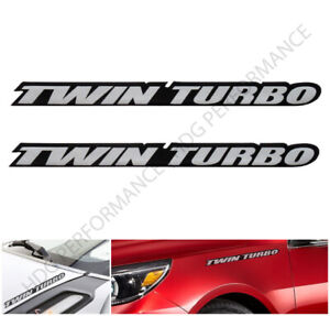 Pair Of Twin Turbo Tt Engine Silver Sticker Decal Bumper Emblem Fender Badge