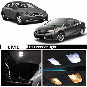 8x White Interior Led Lights Package Fits 2013 2015 Honda Civic Sedan Coupe