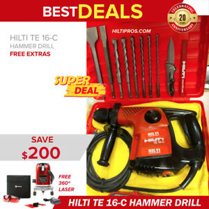 Hilti Te 16 c Hammer Drill Preowned Free 360 Laser Level Fast Shipping