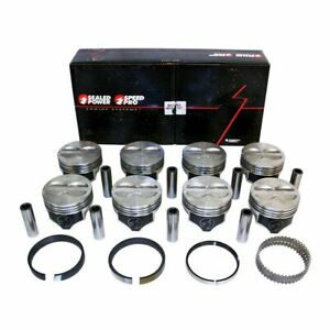 Speed Pro Chevy 400 Hypereutectic Flat Top Piston moly Ring Kit For 5 7 Rod 60