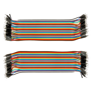 2pk 40 Conductor 80pcs Male To Male Jumper Wire 20cm 40p Wires Ribbon Cable