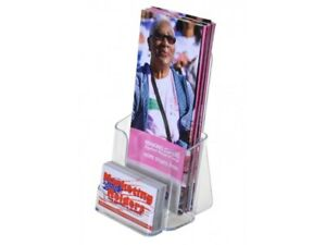 Lot Of 24 Clear Acrylic 4x9 Tri fold Brochure Displays With Business Card Holder