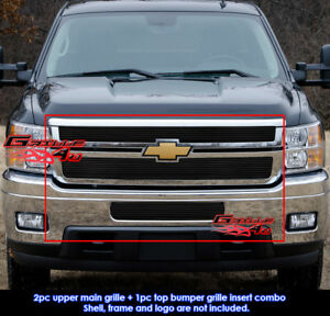 Fits Chevy Silverado 2500 3500 Hd Black Billet Grill Combo 2011 2012