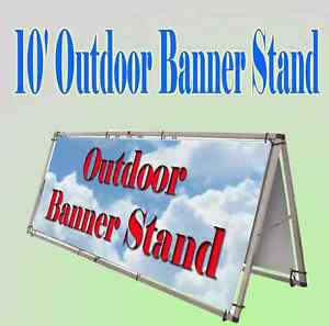 10 x4 Aluminum Outdoor A Frame Banner Double Display Stand Portable Lightweight