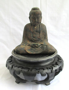 Old Antique Japanese Amida Buddha After Kamakura In Cast Iron Excellent
