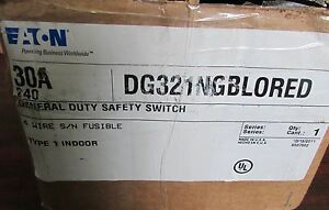 Eaton Cutler Hammer General Duty Safety Switch Red Dg321ngblored 30a 240vac