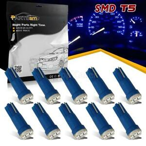 10x T5 3 Smd Blue Instrument Panel Cluster Dash Led Bulb Light Lamp 74 70 37 17
