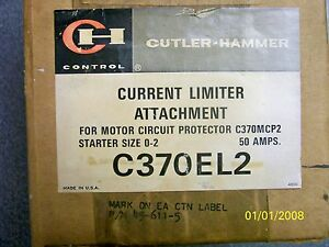 Cutler Hammer Current Limiter Attachment For C370mcp2 Starter Size 0 2 50amp