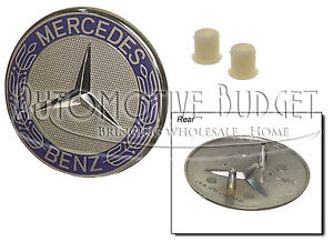 Mercedes Benz Flush Style Hood Emblem With Retainers Grommets New Oem