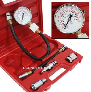 Automotive Compression Tester 2 Adapters 2 1 2 Dia Gauge Gas Engine Tester Kit