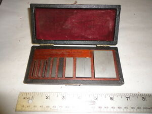 Machinist Tool Lathe Set Of Gage Gauge Blocks In Wood Case