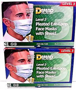 Dental Pleated Earloop Mask With Shield 50 2bx Defend Mk 7400 Level 3
