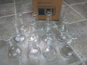 12 250ml Erlenmeyer Flasks Pyrex Corning Usa Lab Glassware 4980 One Dozen