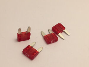 4 X 10 Amp Mini Fuse Red 10a Atm Free Shipping