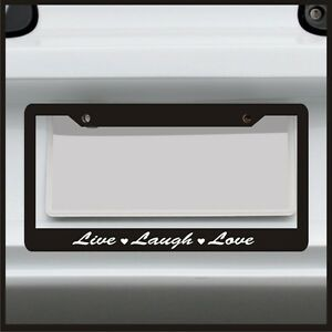 Live Laugh Love License Plate Frame Sticker Car Girl Quote Saying Cute Pink