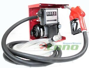 Ac 110v Diesel Fuel Refill Pump Mechanical Meter Fueling W automatic Nozzle Hose