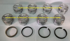 Chevy 350 5 7 Sealed Power Federal Mogul Cast Dish Top Pistons Moly Rings 030