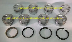 Chevy 350 5 7 Sealed Power federal Mogul Cast Dish Top Pistons moly Rings 30