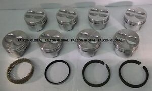 Chevy 350 5 7 Sealed Power Federal Mogul Cast Flat Top Pistons Cast Ring Kit 40