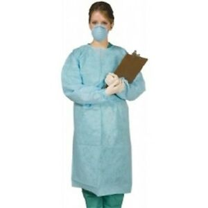 Disposable Gown Tie Back Large Blue 50 pk Dental Medical