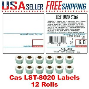 Cas Lst 8020 Printing Scale Label 58 X 60 Mm Upc ingredients 12 Rolls Of 500