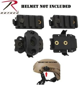 Black ABS Tactical Base Jumping Airsoft Plastic Helmet Rail Adapters Rothco 1895