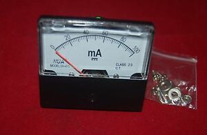 Dc 100ma Analog Ammeter Panel Amp Current Meter 0 100ma 60 70mm Direct Connect