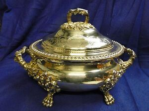 Soup Tureen Old Sheffield Made Circa 1840 Chased Engraved