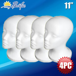 Female Styrofoam Foam Mannequin Manikin Head Wig Display Hat Glasses 11 4pc