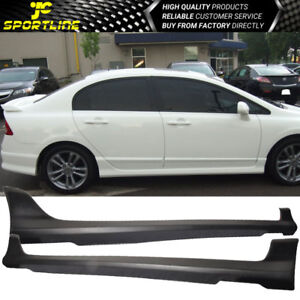 Fits 06 11 Honda Civic Sedan Hfp Side Skirts Bodykit Black Pu Polyurethane