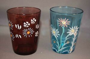 Hand Enameled Victorian Glass Pair Of Tumblers Light Blue And One Amethyst