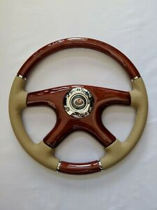 New Raptor 15 Tan Leather Wood Grain Steering Wheel