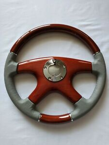Raptor 15 Gray Leather Wood Grain Steering Wheel