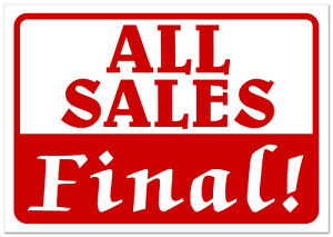 All Sales Final Retail Store Sale Sign Business Shopping Message 11 x 7 Sign