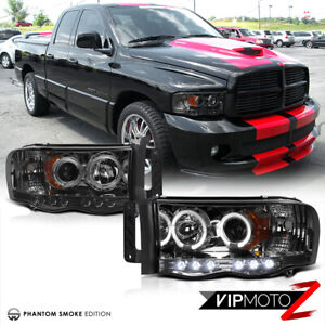 02 05 Dodge Ram 1500 New Lh Rh Pair Smoke Projector Led Headlight Signal Lamps