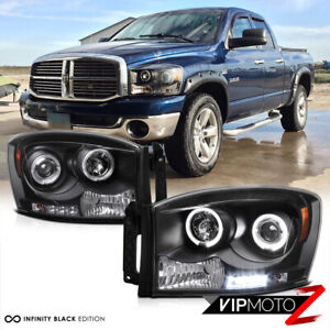 06 08 Dodge Ram 1500 2500 3500 Black Dual Halo Projector Led Headlights lamps