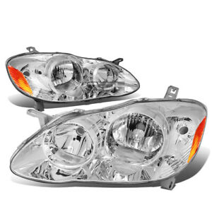Fit 2003 2008 Toyota Corolla Pair Chrome Housing Amber Side Headlight Lamp Set