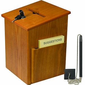 Solid Wood Locking Suggestion Box With Attachable Pen