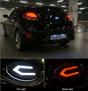 Front Radiator Rear Trunk Concepto 3d Led Emblem For 2011 2014 Hyundai Veloster