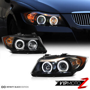 2006 2008 Bmw E90 3 Series Sedan Black Led Angel Eye Halo Projector Headlights