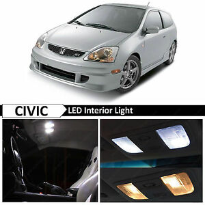 7x White Led Lights Interior Package Kit Fits 2001 2005 Honda Civic Si Ep3