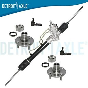5pc Kit Rack And Pinion New Wheel Hub Bearings New Outer Tie Rod End Links
