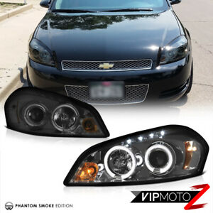 2006 2013 Chevy Impala Halo Angel Eye Projector Headlights Headlamps Led Drl Set