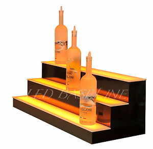 27 Led Lighted Bar Shelf Three Step Liquor Bottle Glorifier Back Bar Shelving