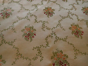 Antique French Satin Brocade Fabric Apricot Maroon Green On Sand Beige