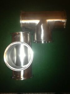 4 5 Sanitary Tee Triclover With 3 Ferrules 304 Stainless Steel Flange