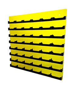 48 Pocket Transparent Yellow W Black Business Card Holder Acrylic Wall Mount