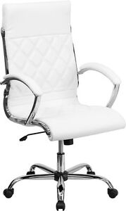 Flash Furniture High Back Designer White Leather Executive Swivel Office