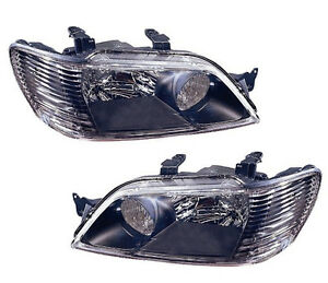 2002 2003 Mitsubishi Lancer New Left Right Side Headlight Assembly Pair Black