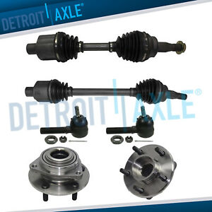 Front Left And Right Cv Axle Shaft No Abs New 2 Tie Rod 2 Wheel Hub Bearing